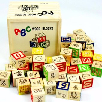 Wooden Alphabet Blocks With Wooden Box   Wooden Educational Toy