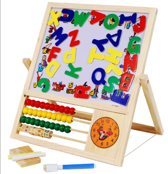 Wooden children's double-sided magnetic drawing board writing board