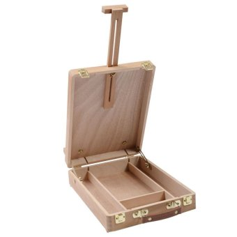 Wooden Easel Artist Craft with Integrated Wooden Box Art DrawingPainting Table Box - intl