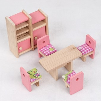Wooden Furniture Dolls House Miniature 6 Room Set Learn Toys for Kids Children - intl - picture 2