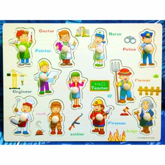 Wooden Inset Board Occupations Puzzle - Educational and Therapeutic Toy