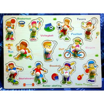 Wooden Inset Board Sports Puzzle - Educational and Therapeutic Toy