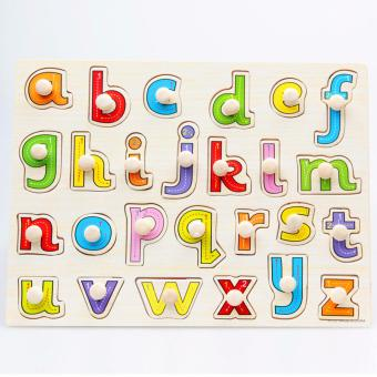 Wooden Inset Pegged Board Lower Case Alphabet Puzzle