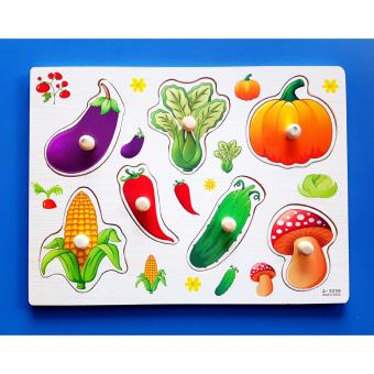 Wooden Inset Pegged Board Vegetables Puzzle - Educational andTherapeutic Toy for Kids