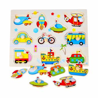 Wooden Inset Pegged Puzzle Board Transportation - Educational and Therapeutic Toy