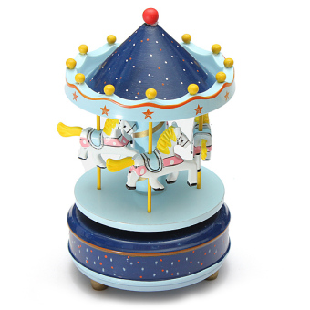 Wooden + Plastic Merry-Go-Round Carousel Music Box Christmas Birthday Gift Toy - intl