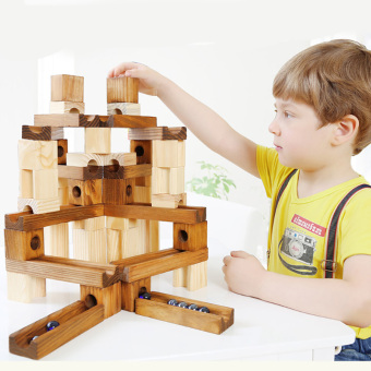 Wooden puzzle assembled track ball blocks building blocks