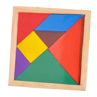 Wooden Tangram 7 Piece Puzzle Square I.Q. Game Brain TeaserIntelligent Toy - intl