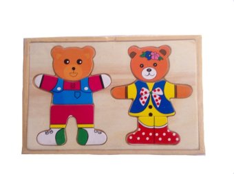 Wooden Teddy Bear Couple Puzzle