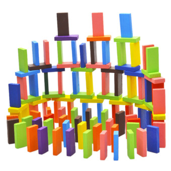YBC 120pcs Colorful Wooden Domino Authentic Standard Children Toys
