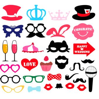YBC 31pcs Party Supplies Wedding Photo Booth Props Masks Mustache Price Philippines