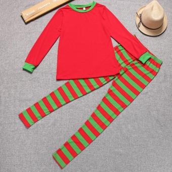 YI.D Christmas XMAS Kids Adult Family Pajamas Set Long Sleeve Top and Striped Pants Sleepwear Lounge Nightwear(Red/Green) - intl - 2