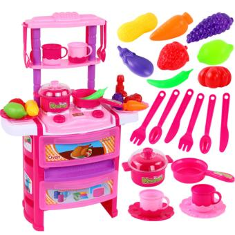 zestar ze_toys005A-2 Simulation kitchen tableware double dining table, double kitchen cabinet real water lighting sound effects children's home kitchen toys, boys and girls cooking kitchen utensils tableware, children's toy set