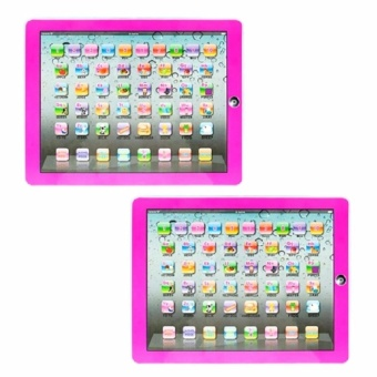 Zover Set of 2 Y-Pad English Children's Toy Computer Tablet w/ 4Modes, Volume and On/Off Buttons, Learn & Play, Lights &Sounds (Pink)