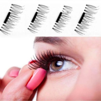 1 Pair/ 4Pcs 3D Magnetic False Eyelashes Natural Soft Makeup Eye Lashes Extention - intl