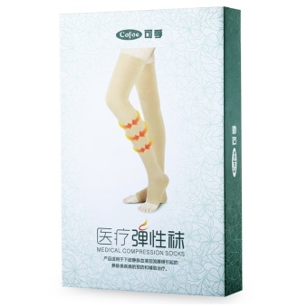 1 Pair Brace Compression Stockings Varicose Veins 23-32mmHg Pressure Level 2 Mid-Calf Length Medical Stockings for Varicose Veins,Beige - intl - 5