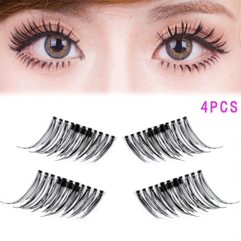 1 Pair/4Pcs 3D Magnetic False Eyelashes Extension Eye Beauty Tools - intl