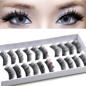 10 Pairs Black Thick False Fake Eyelashes Eye Lash Make Up Kit Eye Extension - intl