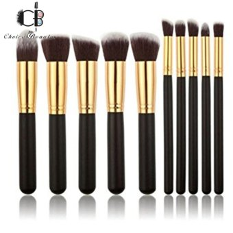 10 Pcs Professional Make Up Foundation Blusher Brushes Set (Black&Gold)