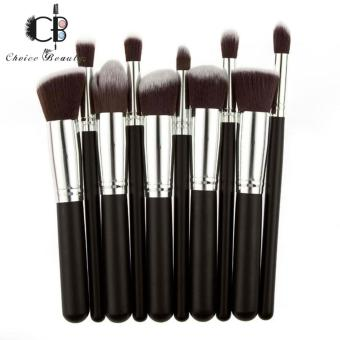 10 Pcs Professional Make Up Foundation Blusher Brushes Set (Black&Silver)