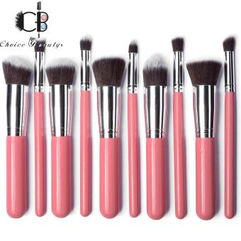 10 Pcs Professional Make Up Foundation Blusher Brushes Set (Pink&Silver)