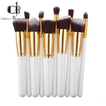10 Pcs Professional Make Up Foundation Blusher Brushes Set (White&Gold)