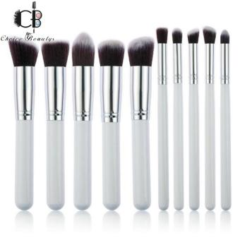 10 Pcs Professional Make Up Foundation Blusher Brushes Set (White&Silver)