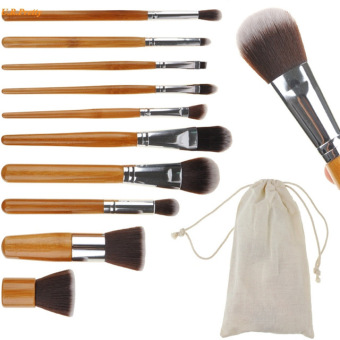 10 pcs Soft Synthetic Hair Make Up Tools Kit Cosmetic Beauty MakeupFoundation Brush Beige Sets