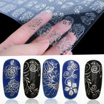 108Pcs 3D Silver Flower Nail Art Stickers Decals Stamping DIYDecoration Tools - intl