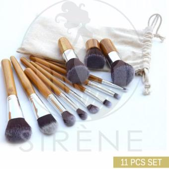11 Pieces Set Bamboo Make Up Brush Set Tool with Pouch High QualityBrushes Portable Brushes Foundation Make Up Brushes Set