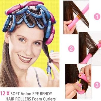 12Pcs/Bag Curly Hair Stick Pearl Cotton Beauty Hair Tool DIY Making Style Girls - intl - 3