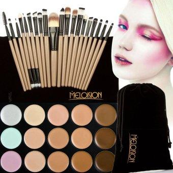15 Colors Contour Face Cream Makeup Concealer Palette+20Pcs Brushes brown - 2