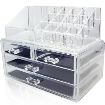 2 in 1 Acrylic Jewelry & Cosmetic Storage Display Boxes TwoPieces Set