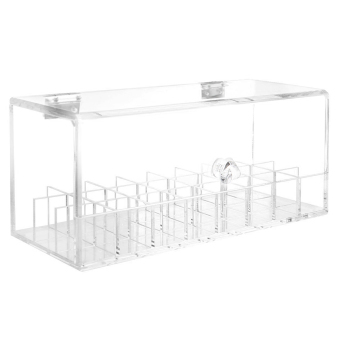 24-Slot Clear Acrylic Flip Cap Cosmetic Makeup Lipstick Lip BalmNail Polish Storage Case Box Organizer Holder