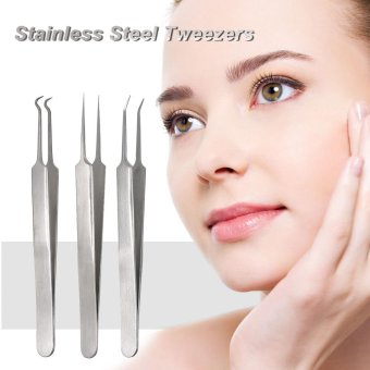 3pcs Acne Clip Facial Pimple Comedone Nippers Curved Straight Blackhead Tweezer Set Stainless Steel Blemish Tools - intl