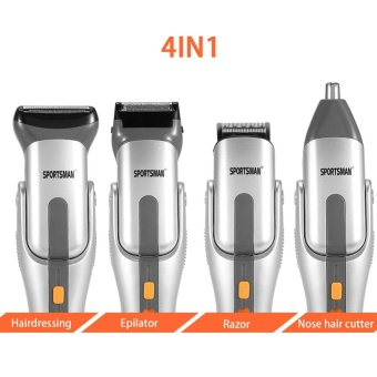 4 in 1 Washable Mens Eletric Nose Hair Clipper Trimmer Bead HairShaver Cutter Set with Comb - intl - 4