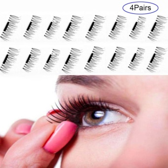 4 Pairs 3D Magnetic False Eyelashes Natural Soft False Eye Lashes - intl