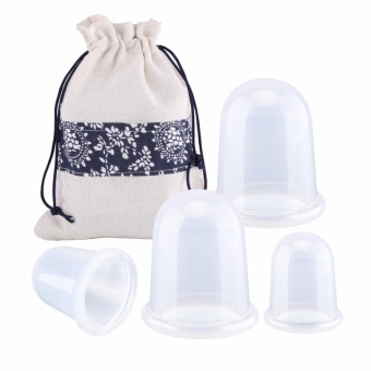 4 Pcs Silicone Cupping Set Cupping Therapy for Cellulite Body Massage Suction Cup Therapy Vacuum Silicone Body Massage Cupping Cups (Transparent) - intl