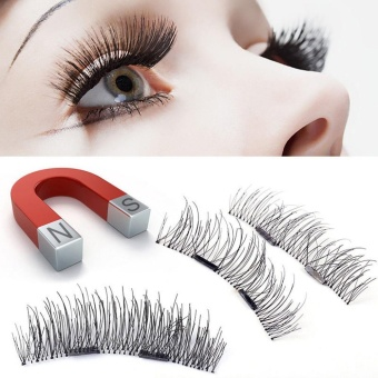 4pcs (1 Pair) Magnetic Eye Lashes 3D Reusable False MagnetEyelashes Extension - intl