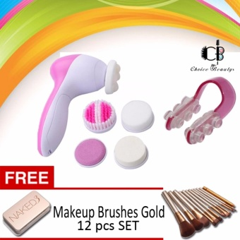 5 IN 1 Beauty Face Care Massager with Nose Up Nose Lifting Clip(Pink) with FREE Makeup Brushes SET 12pcs (Gold)