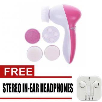 5 In1 Beauty Care Massager New Design Fashion Cleanser FaceMassager Brush AE-8782 (Pink) with free Stereo In-Ear Headphone(White)