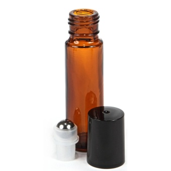 6, Amber, 10 ml Glass Roller Bottles with Stainless Steel Roller Balls - 5 ml Dropper included - intl - 2