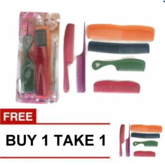 6 Pcs. Assorted Color & Design Plastic Hair Comb Buy 1 Take 1