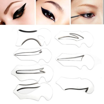 7Pcs Makeup Beauty Cat Eyeliner Smokey Eye Stencil Models TemplateShaper Tool - intl