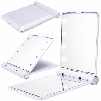 8 LED Vanity Mirror Compact Portable Cosmetic Mini Makeup Mirror(White)