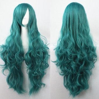 80cm Fashion Long Wig Hair Curled High Temperature Silk MulticolorCurl White - intl - 5