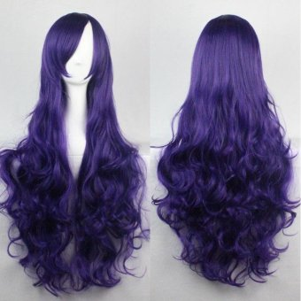 80cm Fashion Long Wig Hair Curled High Temperature Silk MulticolorCurl White - intl - 3