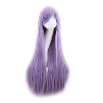 80cm,Cosplay wig high temperature silk long straight hair Violet -intl