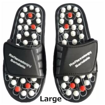 Acupuncture Foot Reflex Massage Slippers (Large -Black)