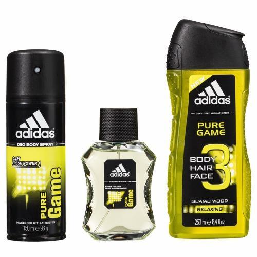 Adidas Pure Game Set (Eau de Toilette 100ml + Deo Spray 150ml + Shower Gel 250ml + Toiletry Bag)